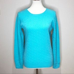 J.Crew Teal Cable Knit Crew Neck Sweater. M.
